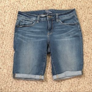 Medium wash mid rise long denim shorts, Size 12